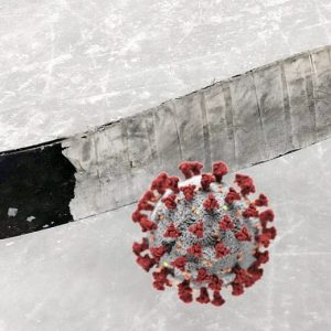 This shows the relationship between youth hockey and the coronovirus pandemic in with visual humor
